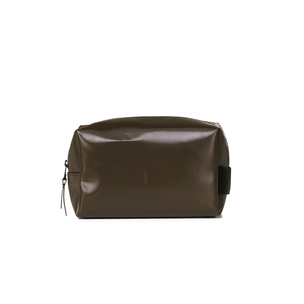 Wash bag small shiny brown