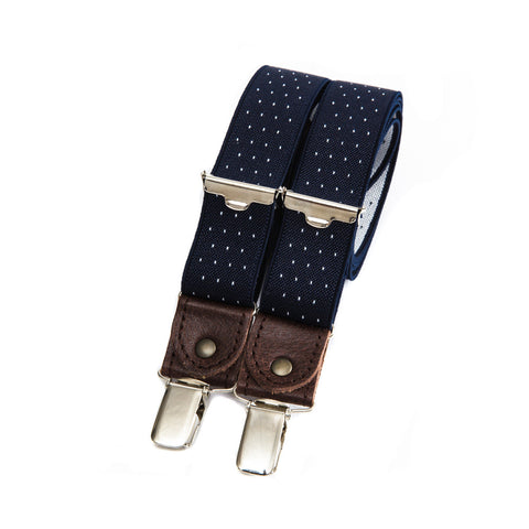 Skinny bertelles with leather details - navy with white polka dots
