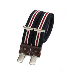 Skinny bertelles with leather details - navy with red stripe