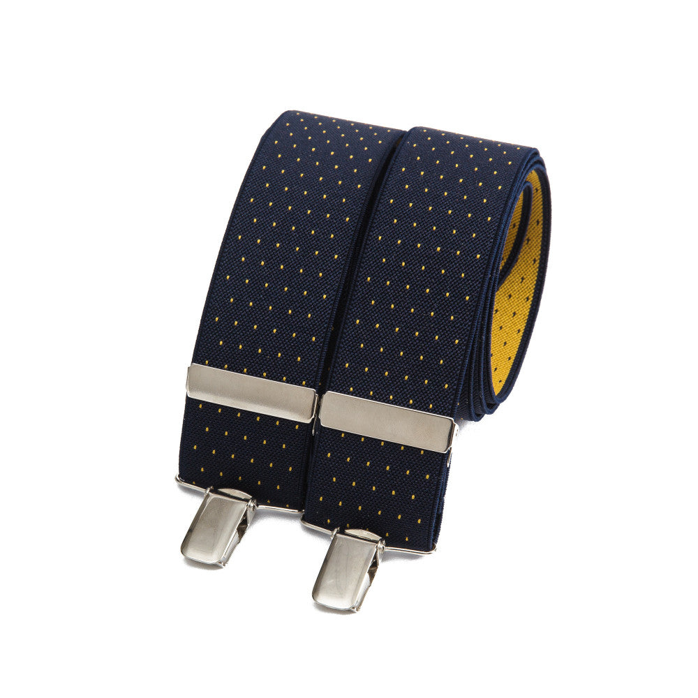 Wide bertelles - navy with yellow polka dots