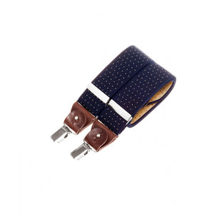 Wide bertelles with leather details - navy with yellow polka dots