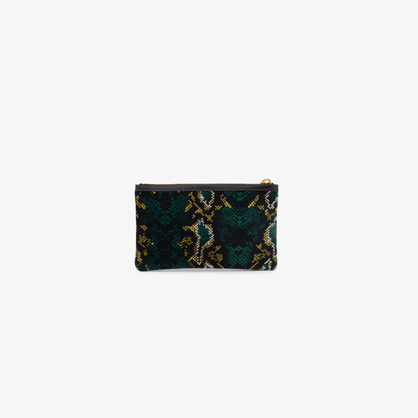 Snakeskin velvet pocket clutch