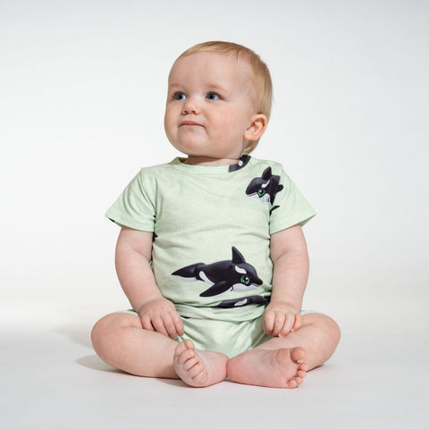 Orca green playsuit baby
