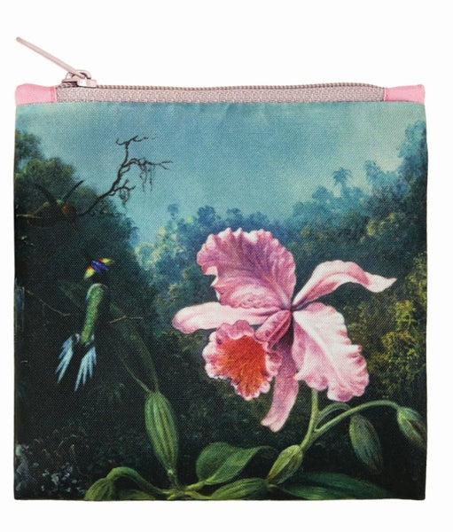 Bag museum still life with orchid and pair of hummingbirds
