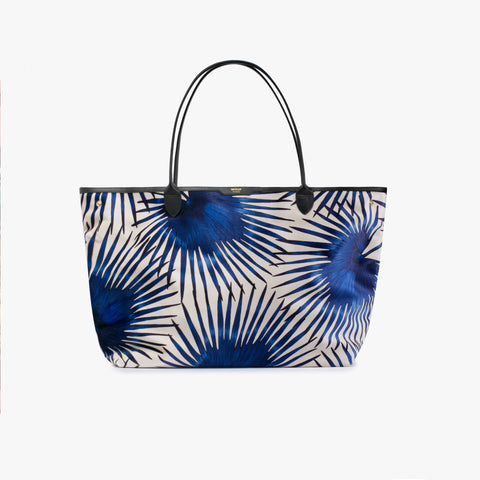 Blue palms velvet tote bag