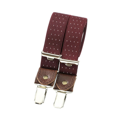 Skinny bertelles with leather details - wine with white polka dots