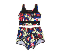Split swimsuit ladies print sexy bikini