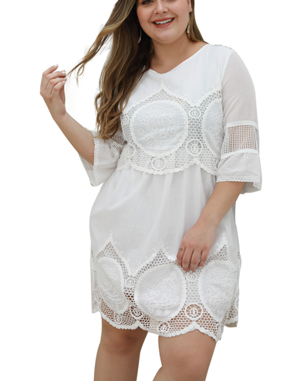 Lace pure white hollow large size dress