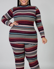 High-neck striped print long-sleeved trousers suit