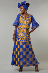 Dress - African Bazin Embroidery Long Dress with Scarf