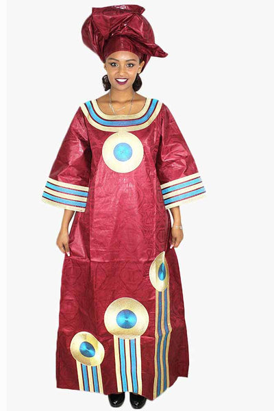 African Bazin Riche Embroidery Design Long Dress With Headtie