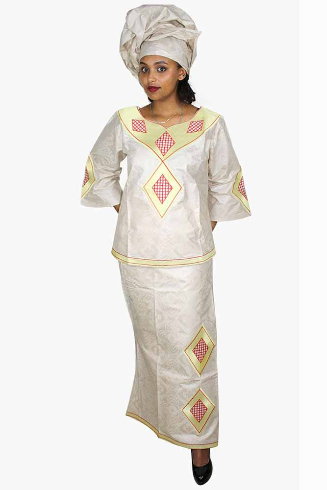 African Bazin Riche Embroidery Dress With Headwear