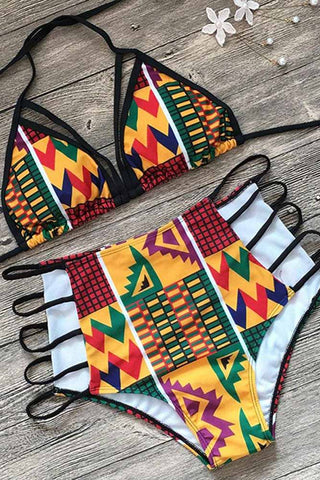Dashikimall Cut Out African Print Two Piece Swimsuit