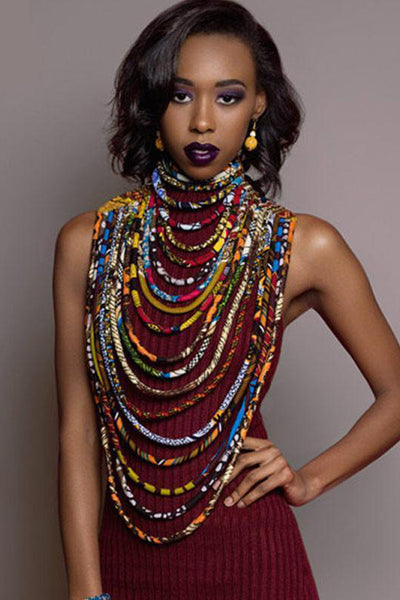 Dashikimall Ankara Beautiful Multi Strand Necklace