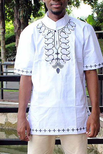 African  Embroidery   Print T-Shirts
