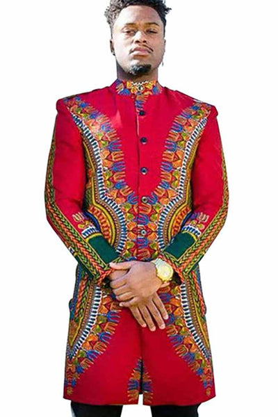 Dashikimall African Man  Dashiki Wax Batik Printing Coat