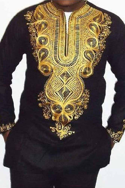 Dashikimall African Printing V Neck Long Sleeve T Shirts