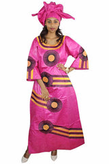 Dashikimall Traditional Design Basin Dress With Headwear