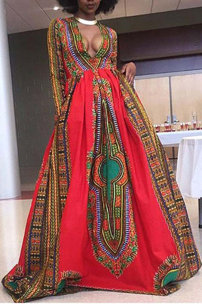 Dashikimall African Dashiki Print V-Cut Maxi Dress