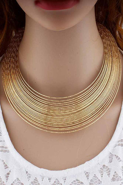 Dashikimall Gold and Silver Color Collar Chain Earrings Set