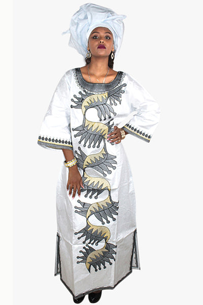 Dashikimall African Bazin Embroidery Dress With Scarf
