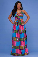 Elgent African Printing Cami Dress
