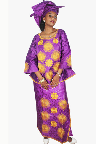 Dashikimall African Bazin Riche Embroidery Set With Headtie