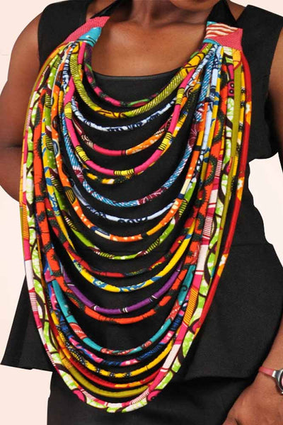 Dashikimall Ankara Handmade Multi-layered Rope Necklaces