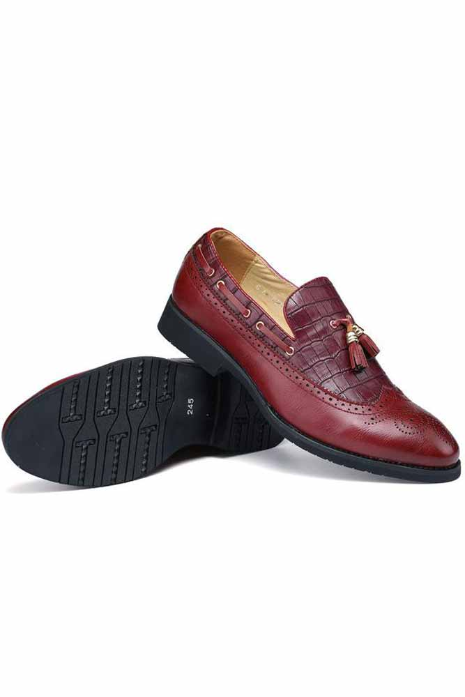 Mens Red Tassels Formal Shoes