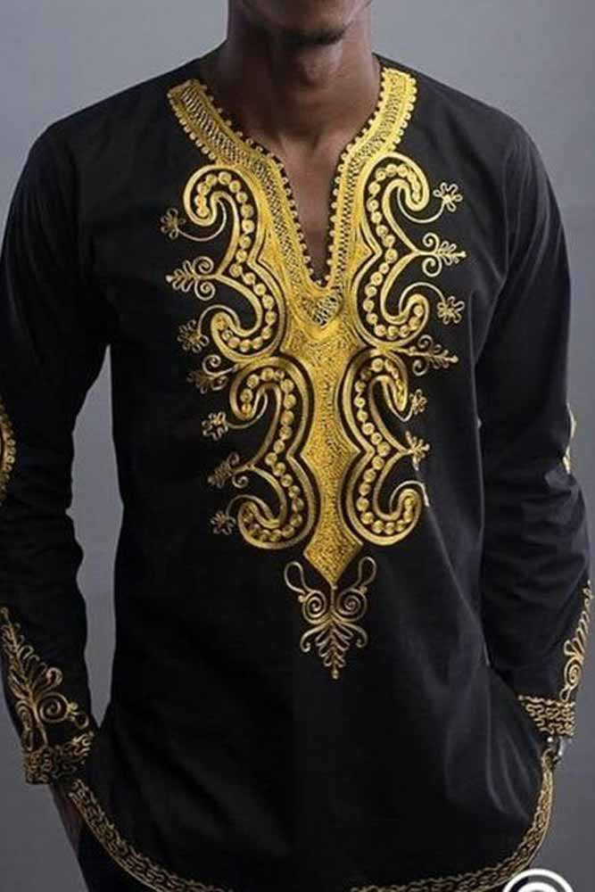 Dashikimall African National Style Printing V-neck Long Sleeve