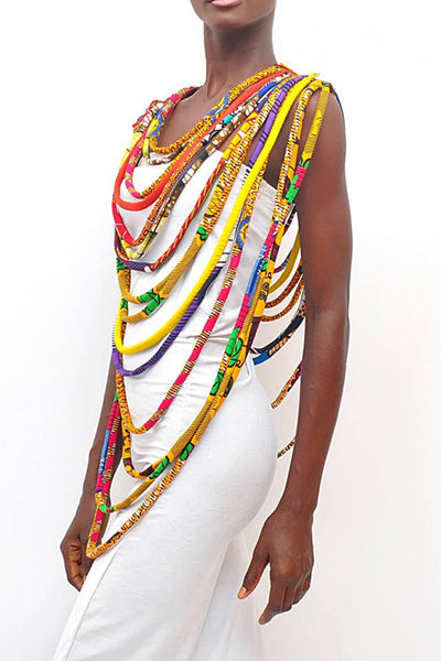Dashikimall  Wax Print Fabric Colorful Necklace