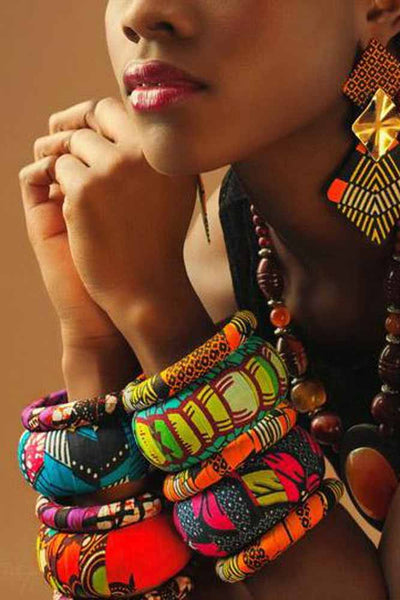 African Print Fabric Covered Wood Bangles
