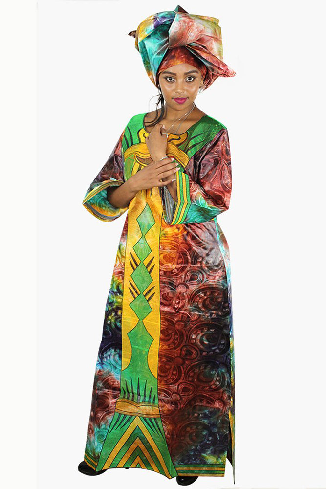 Dashikimall Traditional Bazin Embroidery Long Dress With Scarf