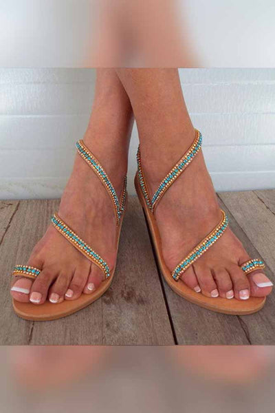 Dashikimall Shiny Crystal Gladiator Sandals