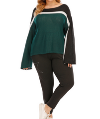 Plus size women's straight neck knit sweater casual sweater