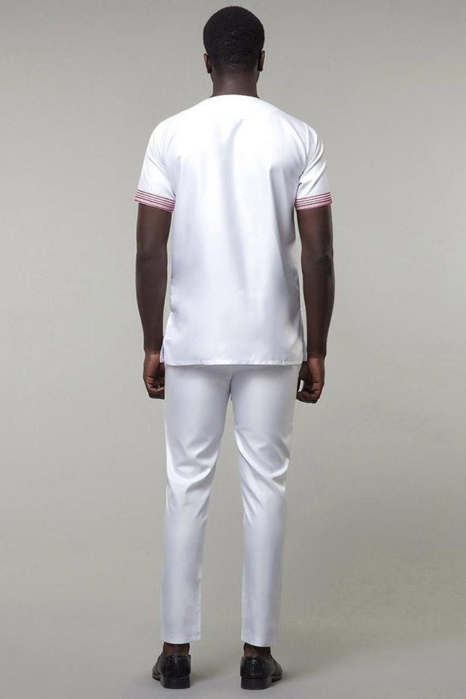 Set-Dashiki Men¡®s Embroidery Design Top with Pants Only White Color