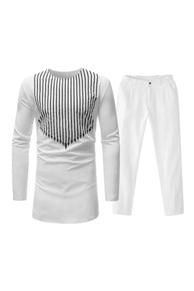 Dashikimall  Traditional Bazin Riche White Striped Set