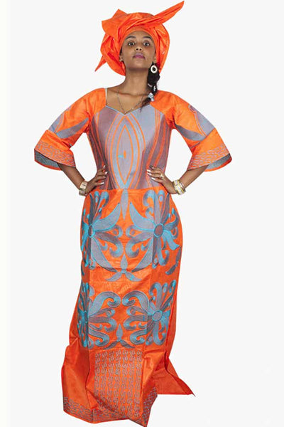 Dashikimall African Bazin Embroidery Design Dress With Scarf
