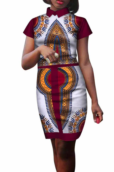 Elegant African Wax Print Bodycon Mini Dress