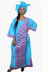 Dashikimall African Bazin Riche Embroidery Dress With Headtie