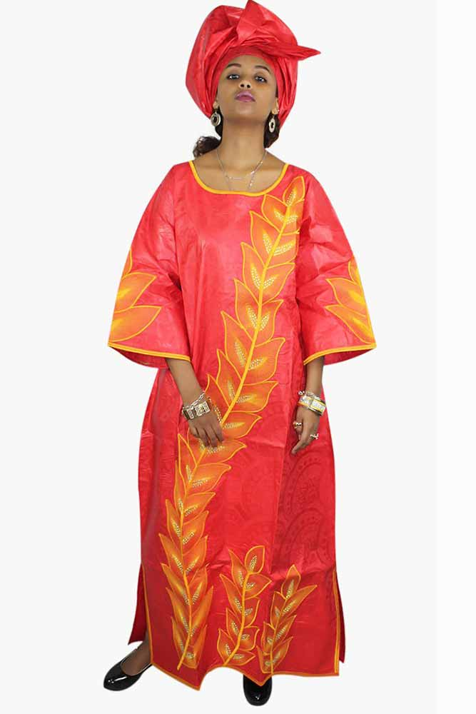 Dashikimall Bazin Riche Embroidery Long Dress With Scarf