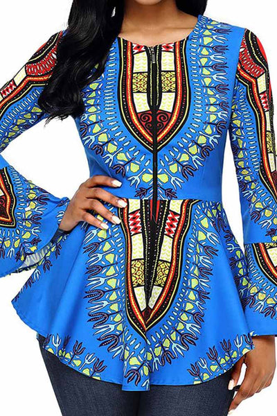 Women Top—Women's  Long Sleever African National Printing