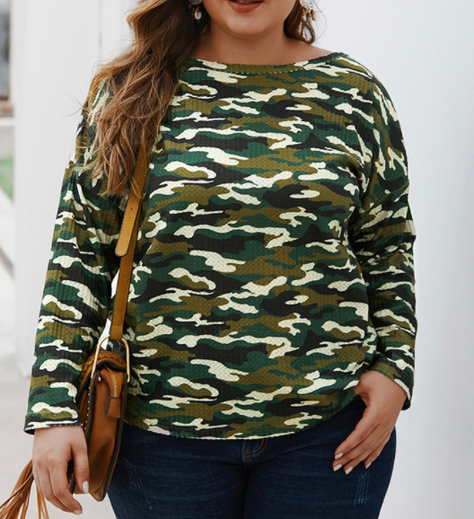 Camouflage Long Sleeve T-Shirt Knit Top