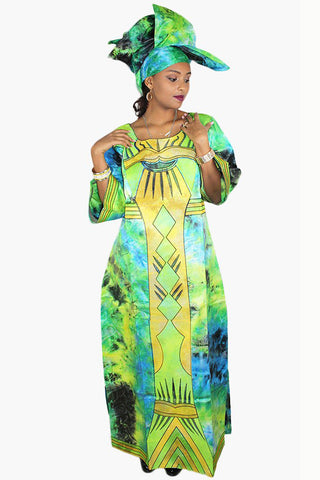 African Traditional Bazin Embroidery Long Dress With Scarf