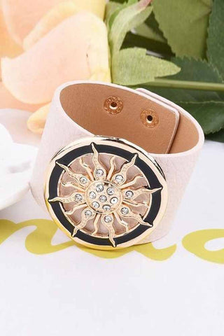 Wide Circle Buckle Leather Bracelets
