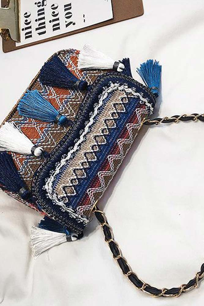 Dashikimall Ethnic Vintage Tassel Embroidery Crossbody Bags