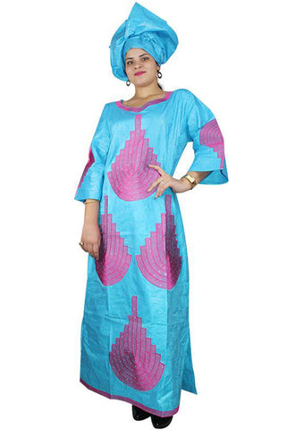 Dashikimall Bazin Embroidery Design Dress With Headtie