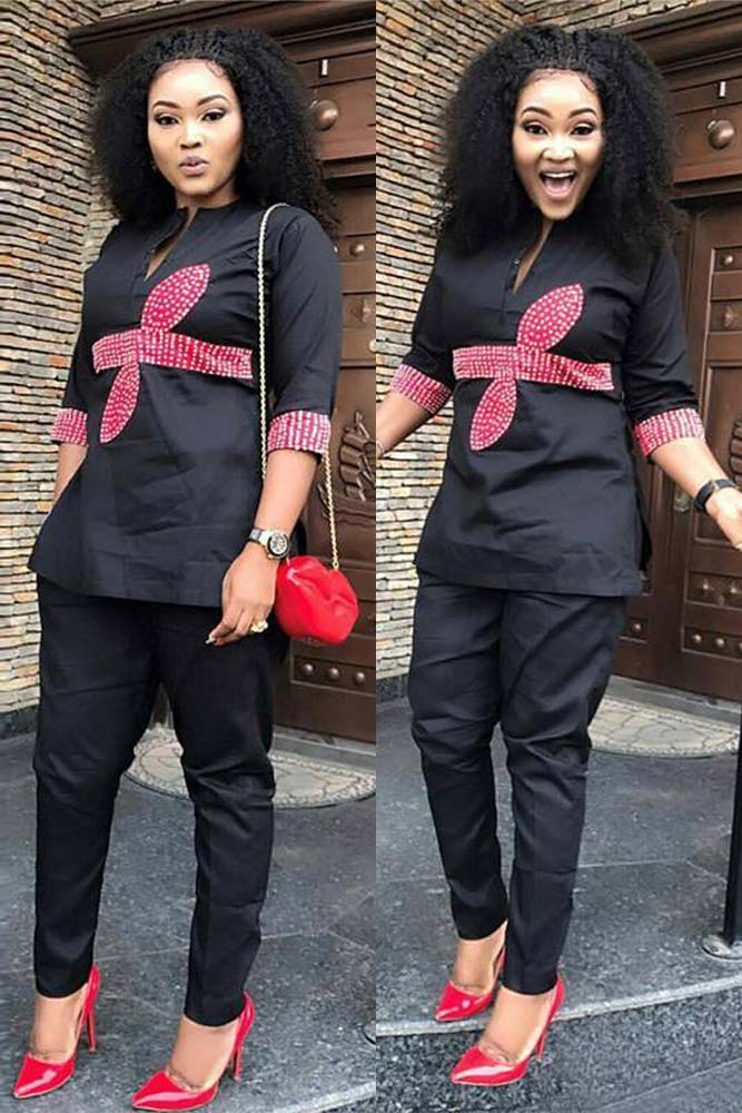 Dashikimall Fashion Design Embroidery Design Top With Pants