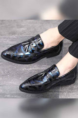 Tassels Leather Frosted Surface Loafers