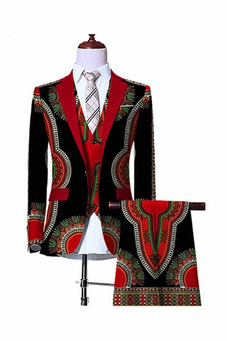 African Dashiki Traditional Prints Jacket Vest Pants Sets